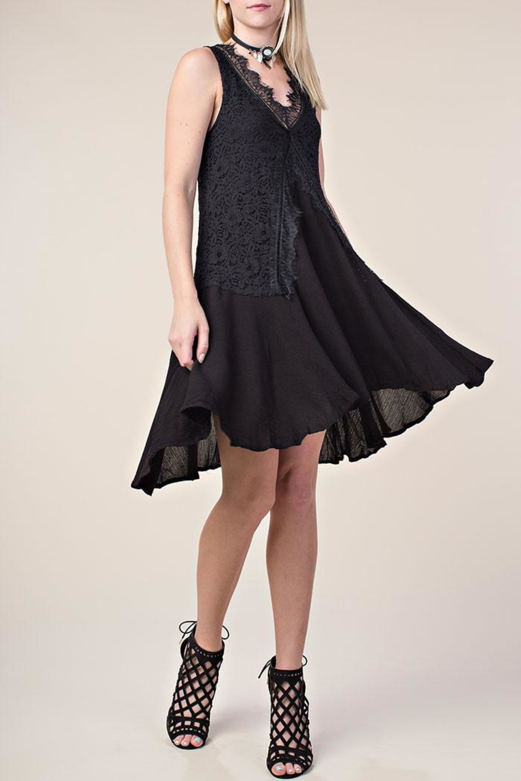 Vocal Apparel Lace Mix-Media Dress - Side Cropped Image