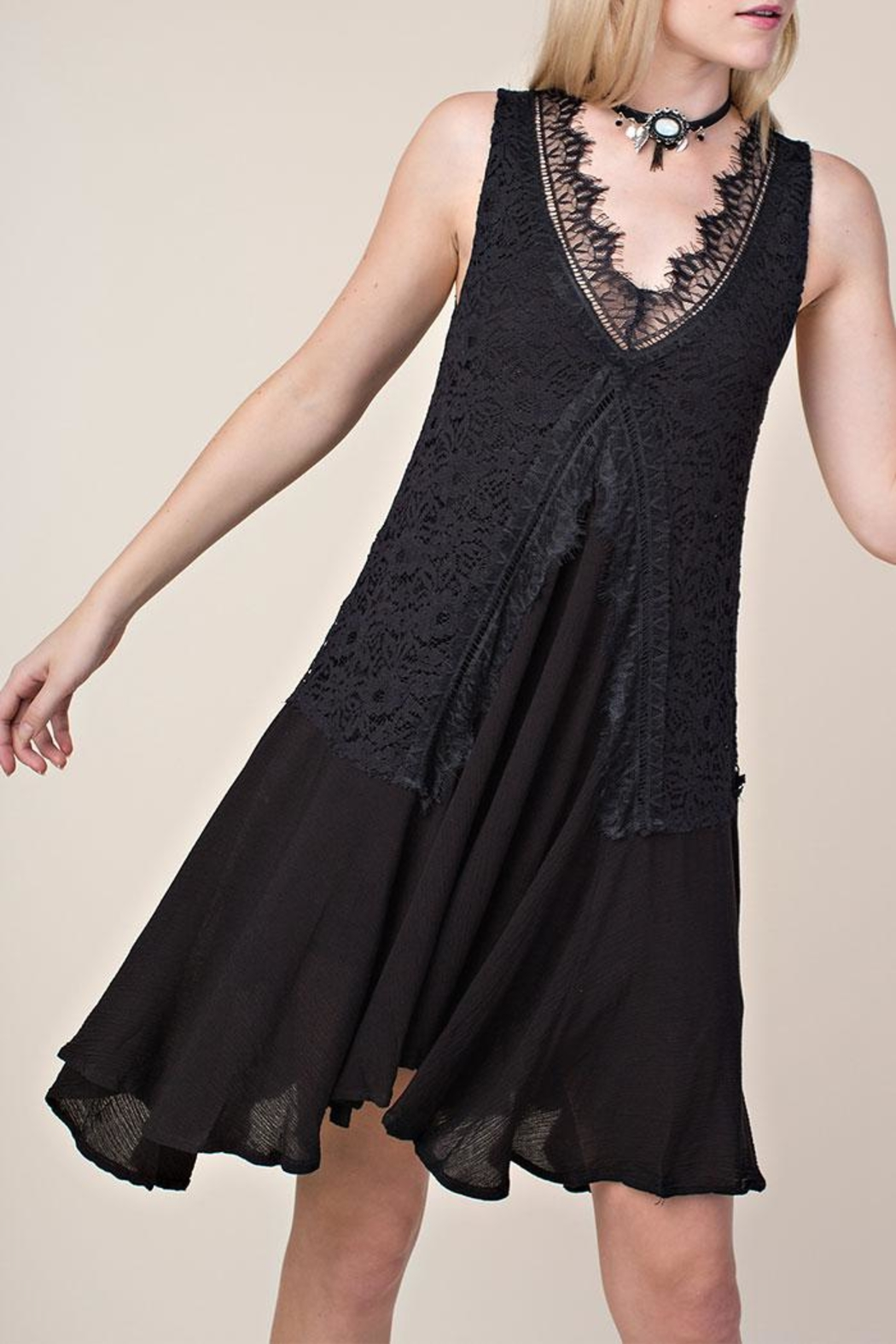 Vocal Apparel Lace Mix-Media Dress - Front Cropped Image