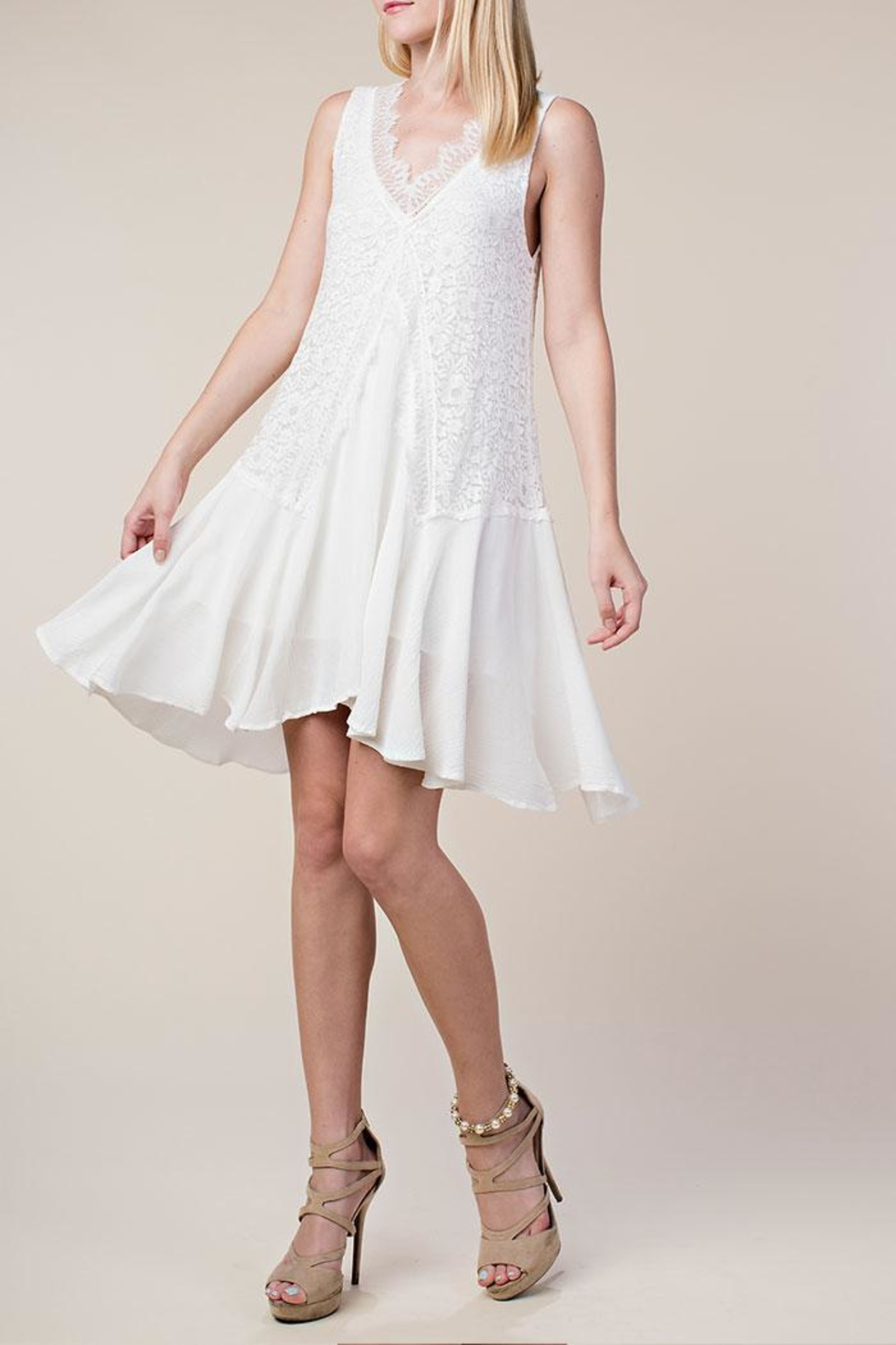 Vocal Apparel Lace Mix-Media Dress - Front Full Image