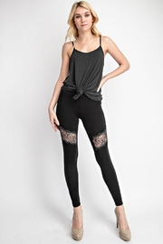 Vocal Apparel Lace Paneled Leggings With Stones - Front cropped