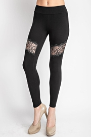 Vocal Apparel Lace Paneled Leggings With Stones - Front full body