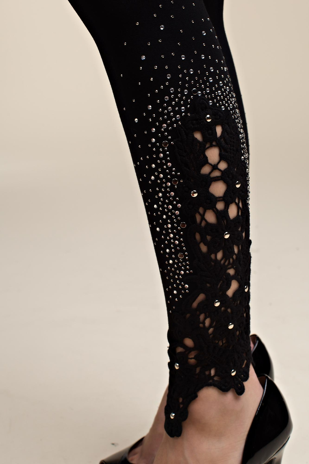 Vocal Apparel Lace Patch Leggings With Stone Details - Side Cropped Image