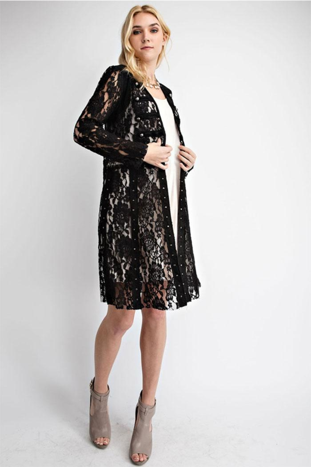 Vocal Apparel Lace With Suede Mix Jacket - Main Image