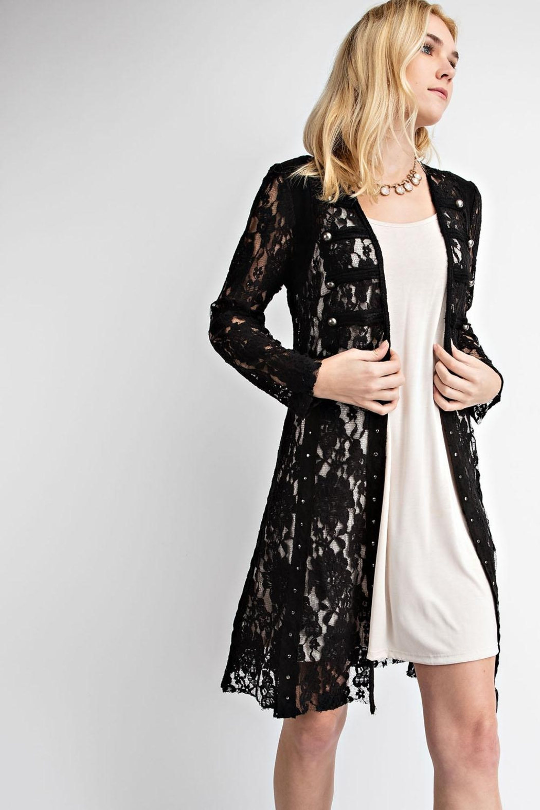 Vocal Apparel Lace With Suede Mix Jacket - Front Full Image