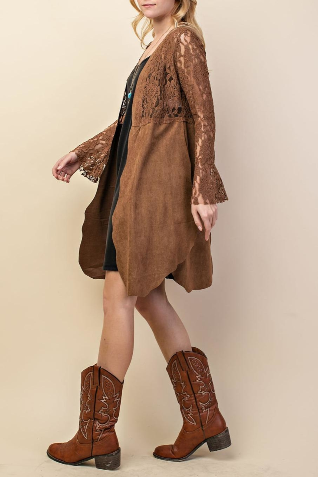 Vocal Apparel Lacey Suede Duster - Side Cropped Image