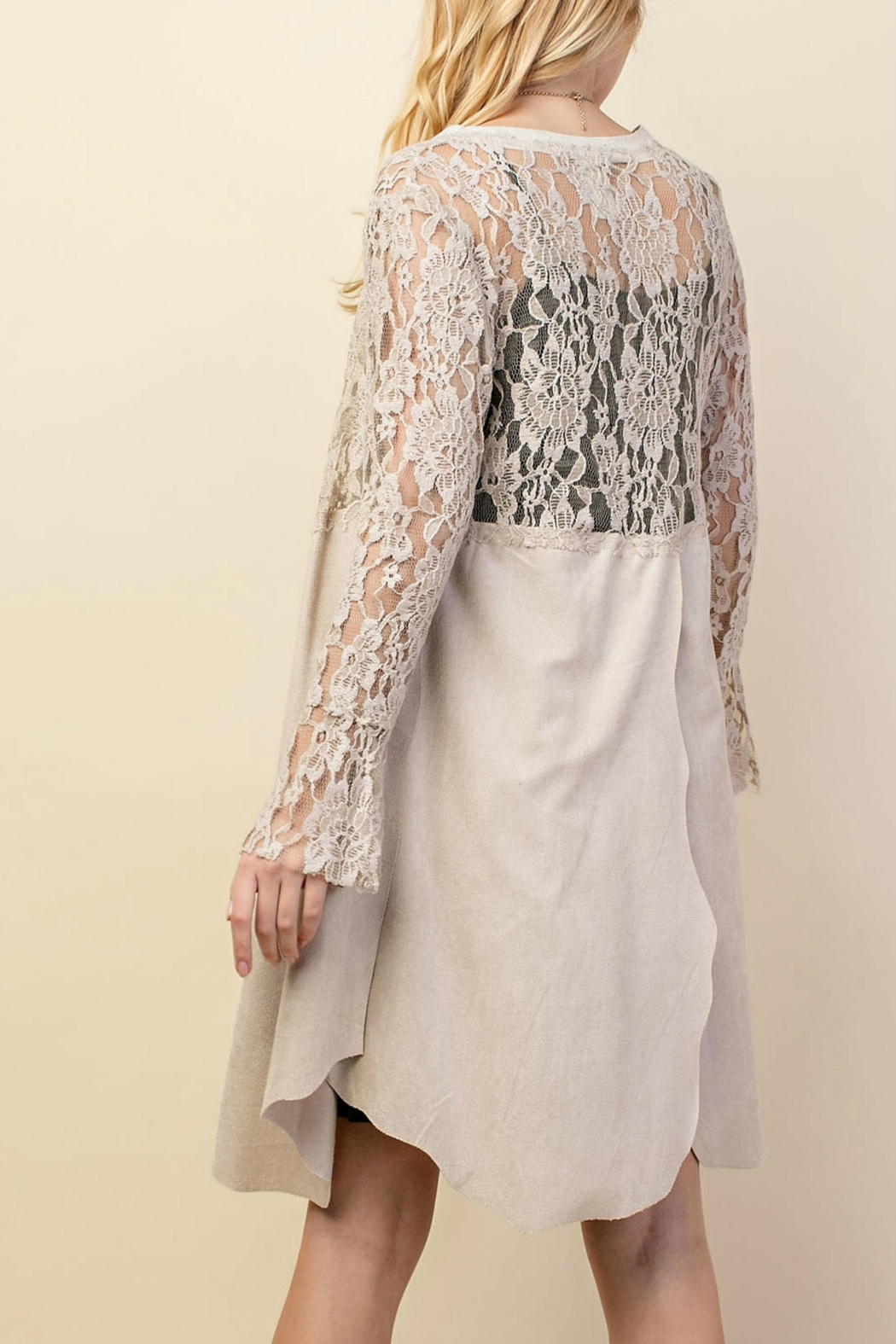 Vocal Apparel Lacey Suede Duster - Back Cropped Image