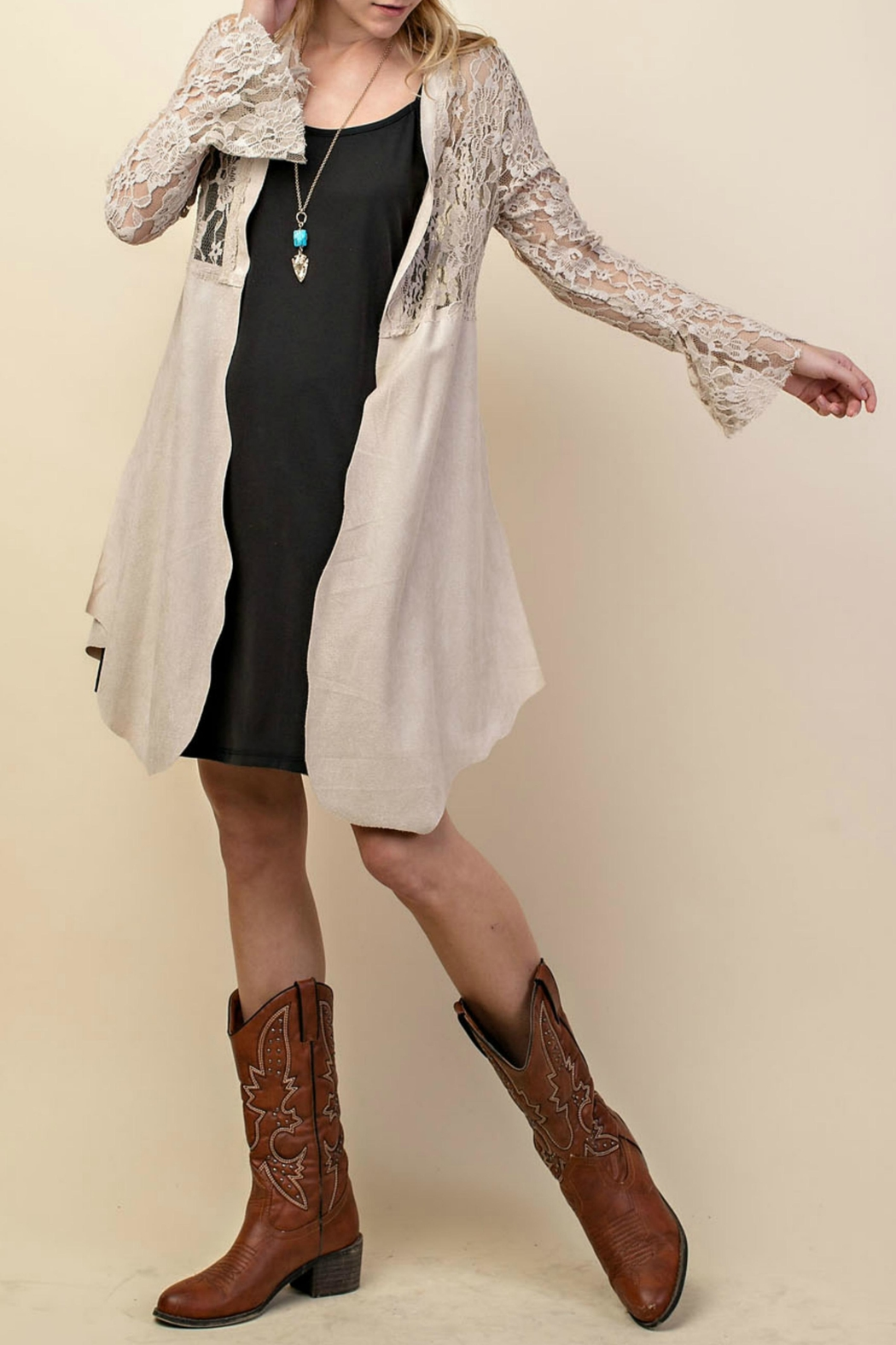Vocal Apparel Lacey Suede Duster - Front Full Image