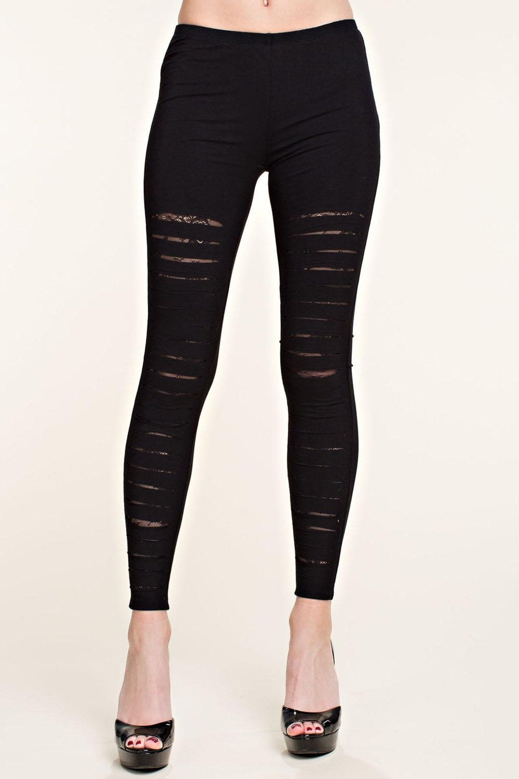 Vocal Apparel Laser Cut Legging With Lace Detail - Main Image