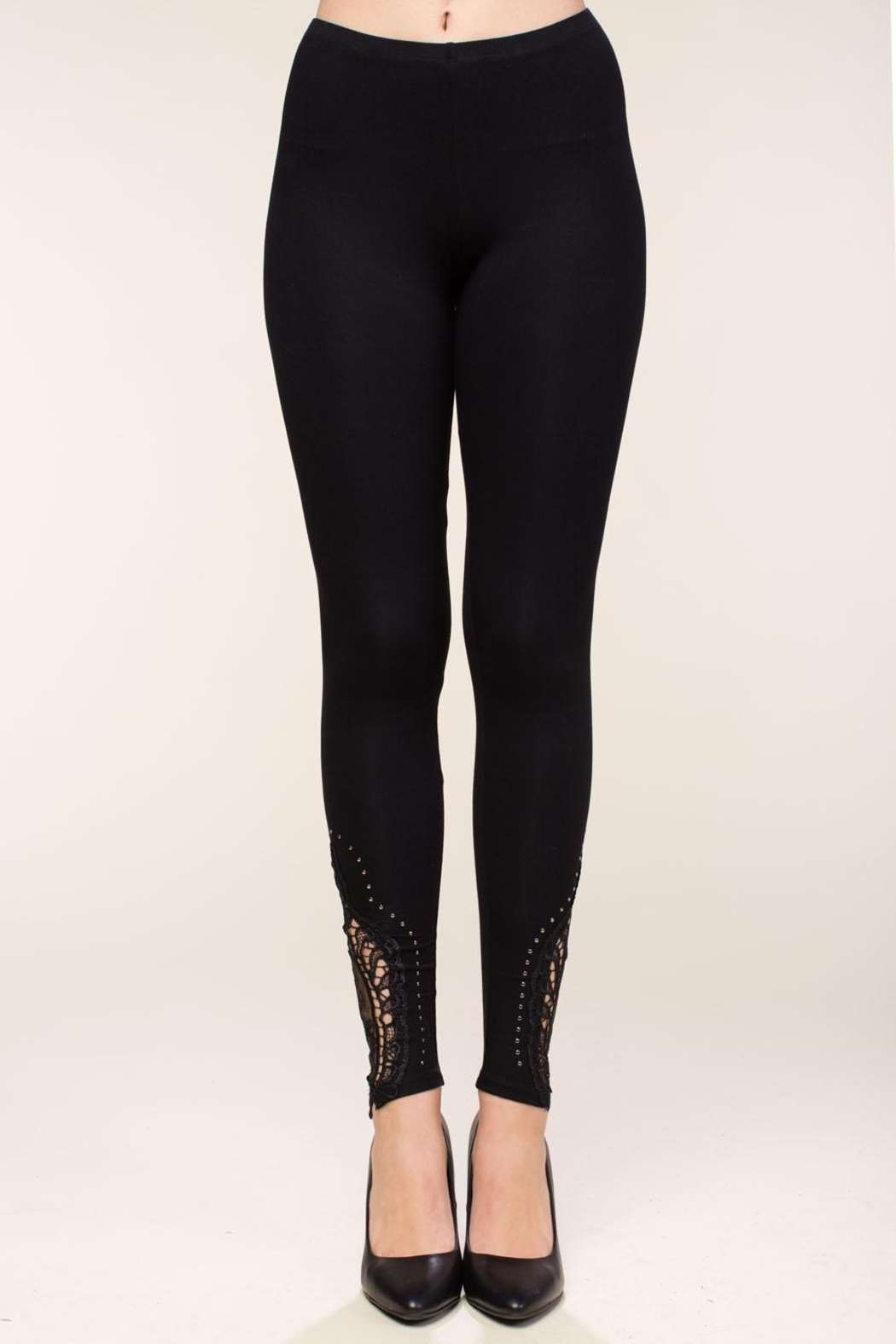 Vocal Apparel Leggings With Crochet And Stone Details - Main Image