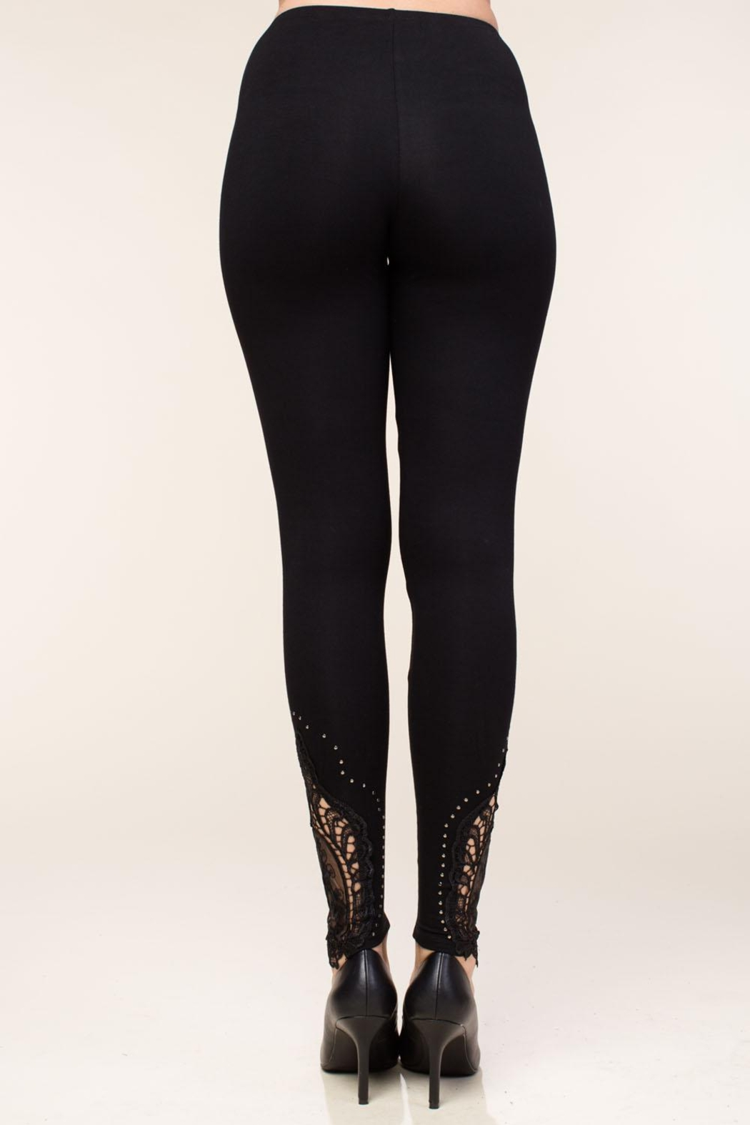 Vocal Apparel Leggings With Crochet And Stone Details - Side Cropped Image