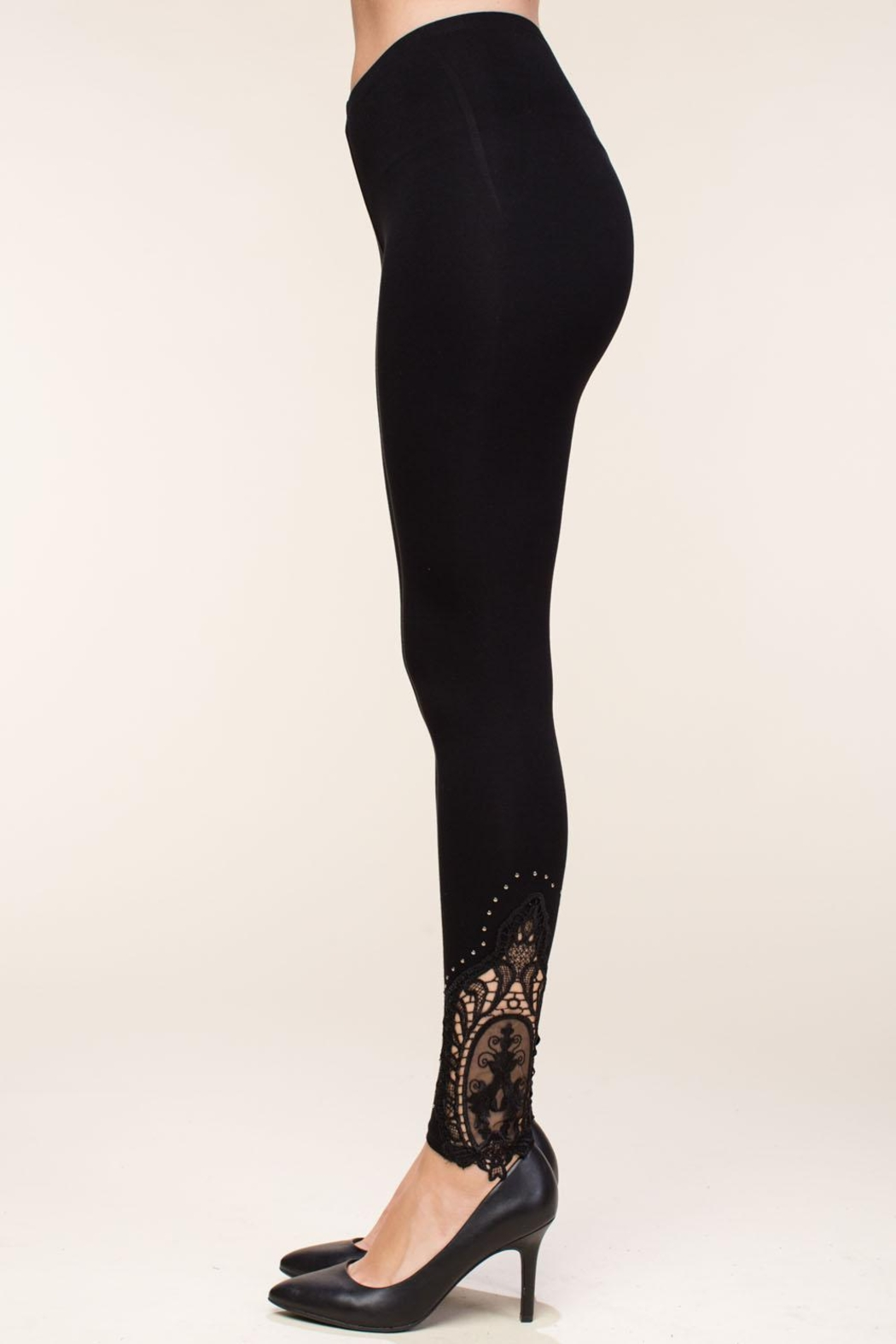 Vocal Apparel Leggings With Crochet And Stone Details - Front Full Image