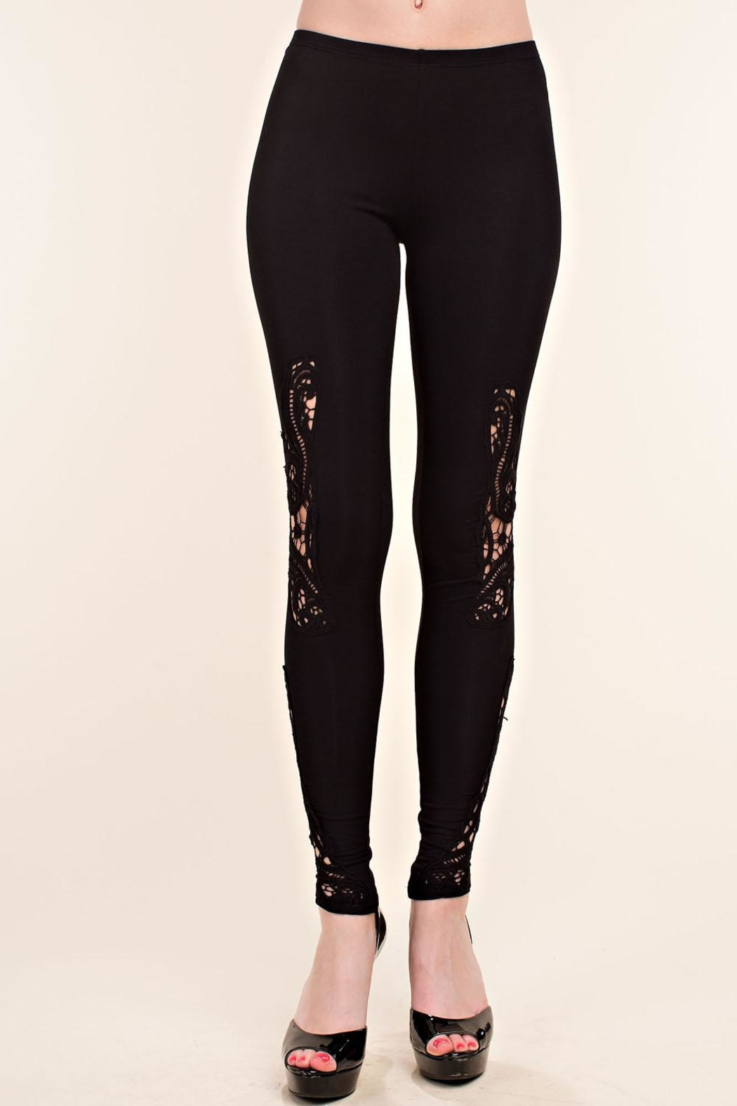 Vocal Apparel Leggings With Crochet Detail - Main Image