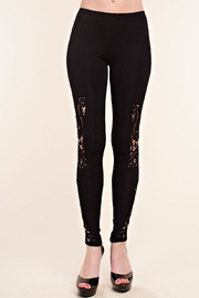Vocal Apparel Leggings With Crochet Detail - Front cropped