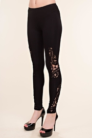 Vocal Apparel Leggings With Crochet Detail - Front full body