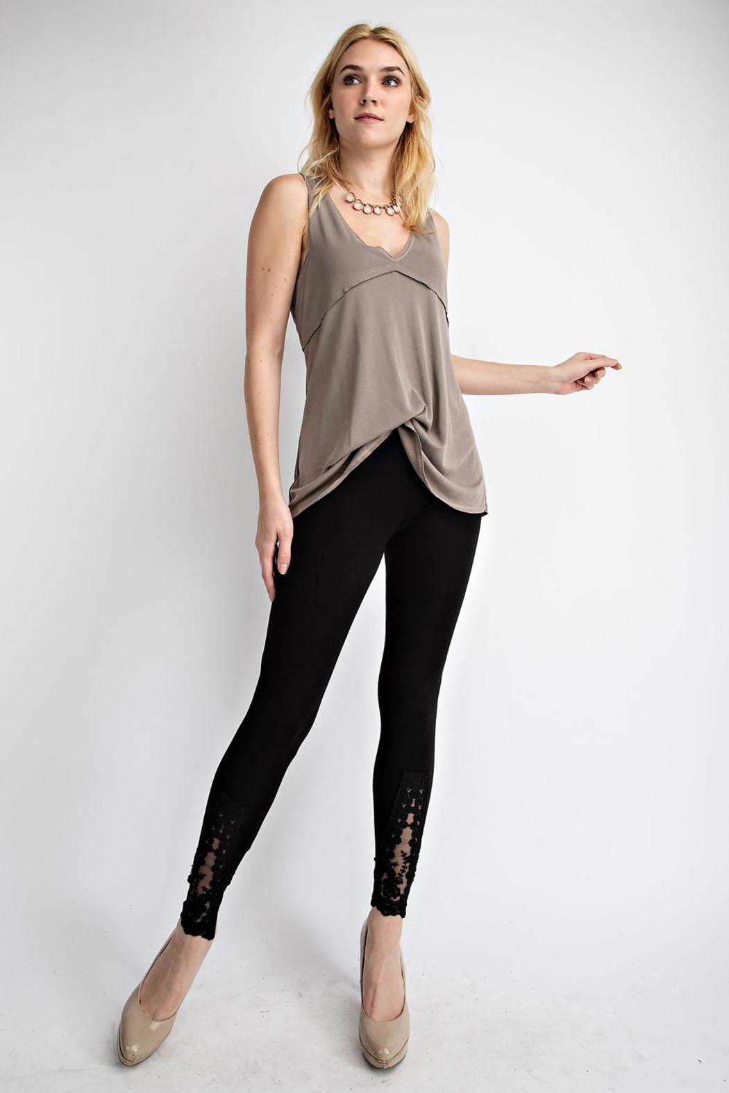 Vocal Apparel Leggings With Lace Crochet Detail - Back Cropped Image