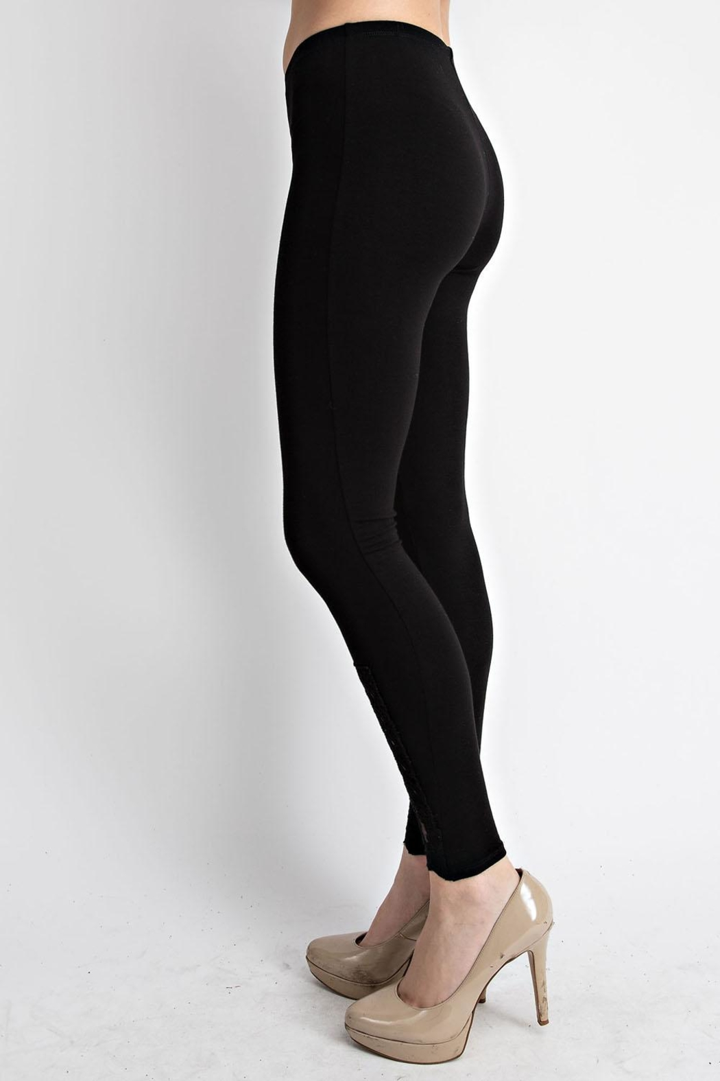 Vocal Apparel Leggings With Lace Crochet Detail - Side Cropped Image