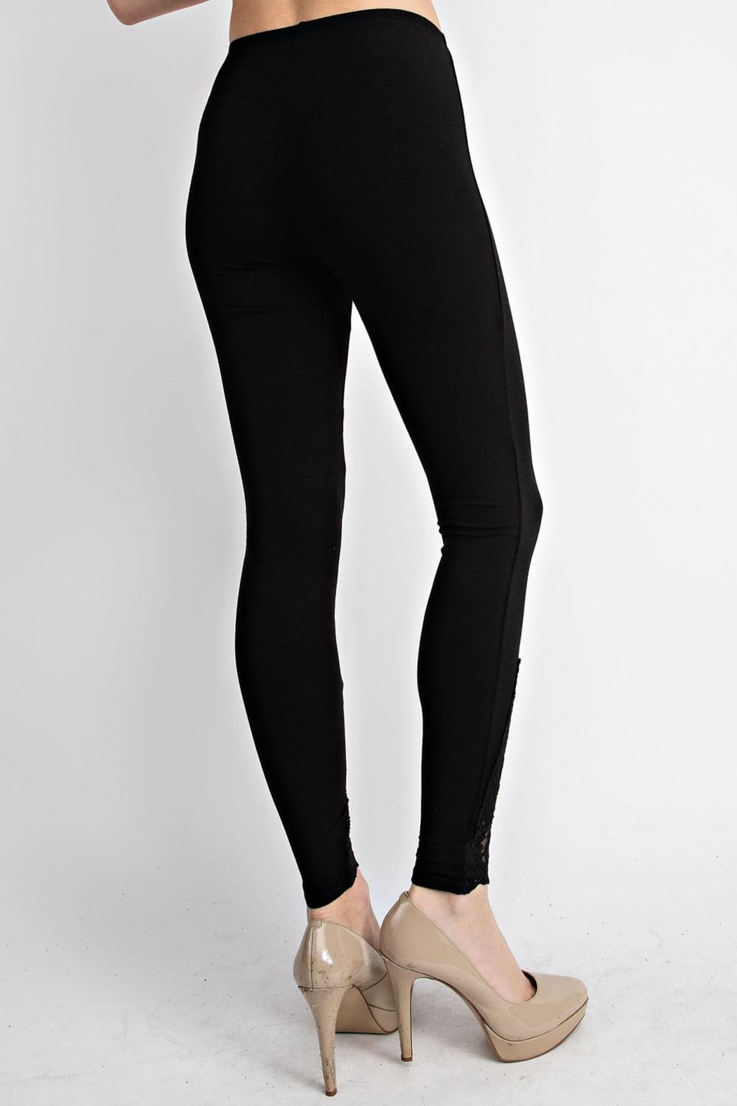 Vocal Apparel Leggings With Lace Crochet Detail - Front Full Image