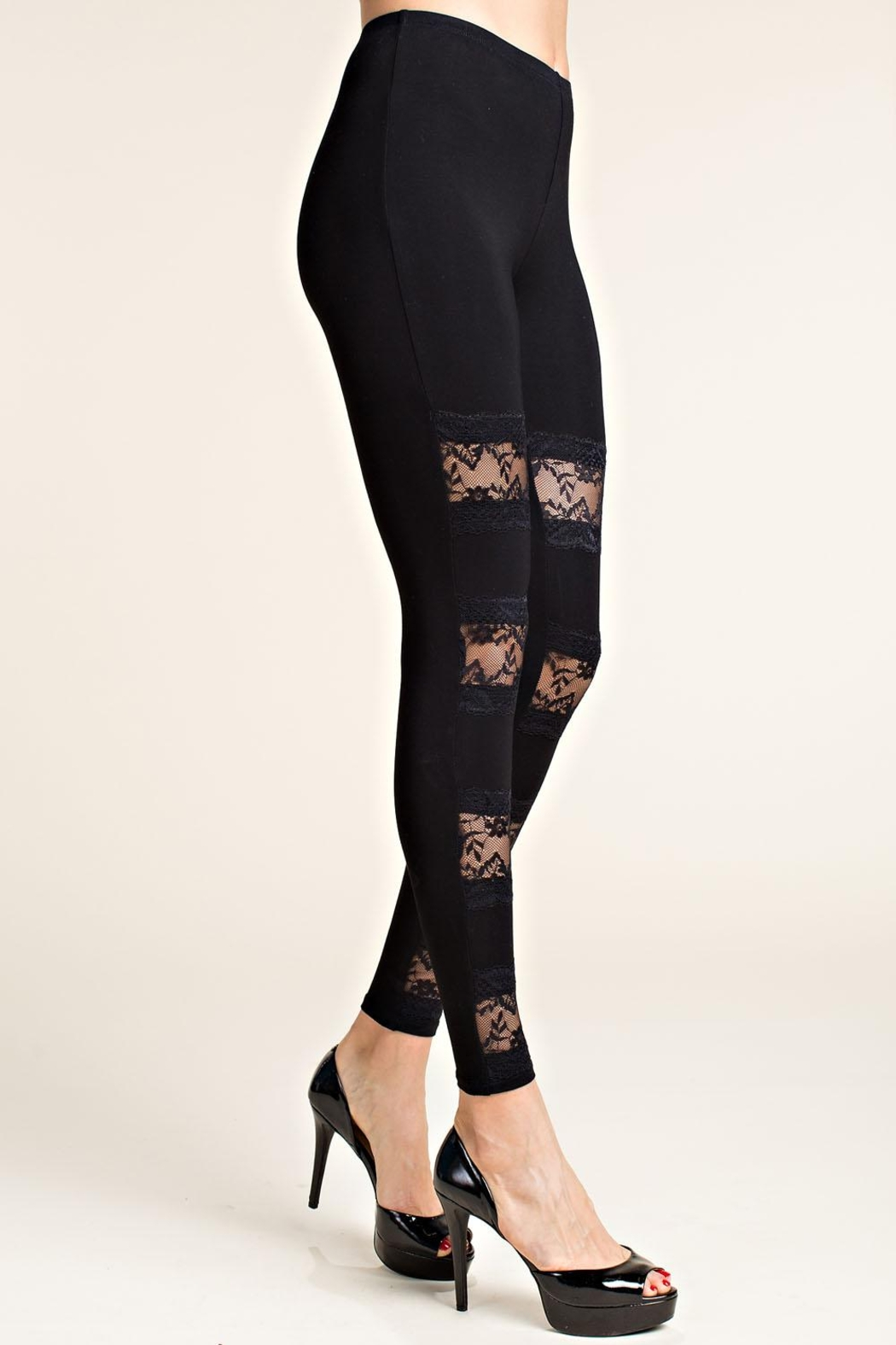 Vocal Apparel Leggings With Lace Panels - Front Full Image