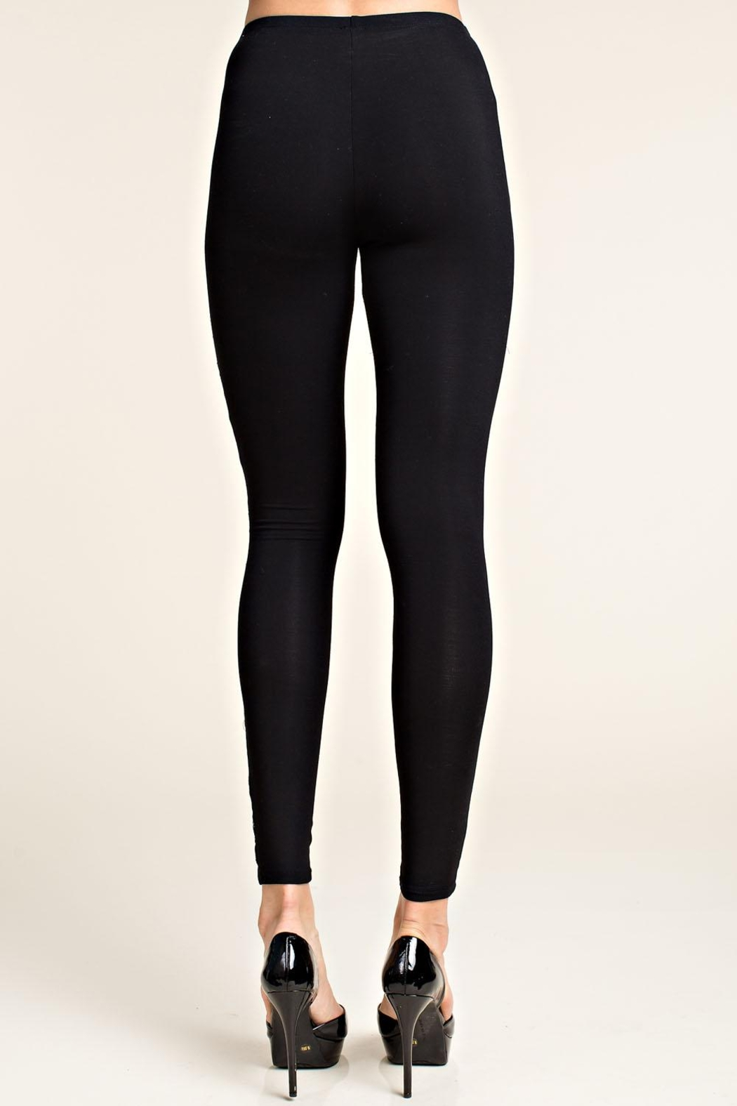 Vocal Apparel Leggings With Lace Panels - Side Cropped Image