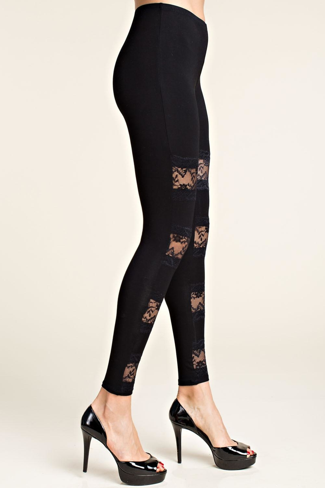 Vocal Apparel Leggings With Lace Panels - Back Cropped Image