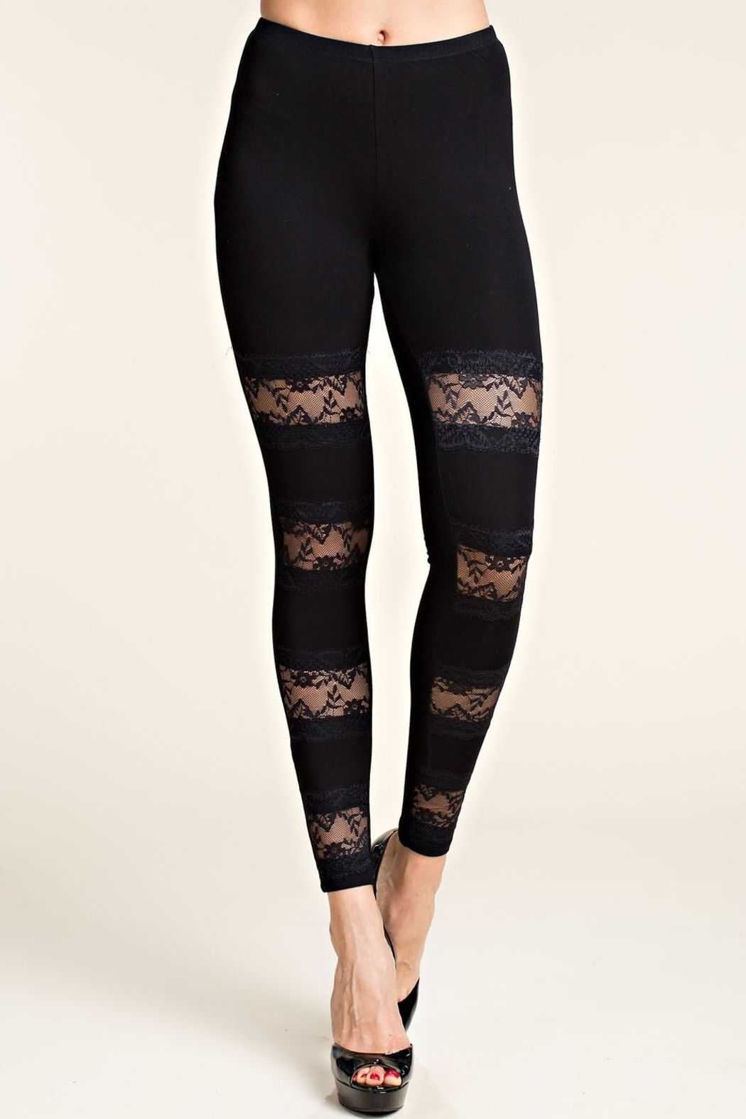 Vocal Apparel Leggings With Lace Panels - Main Image