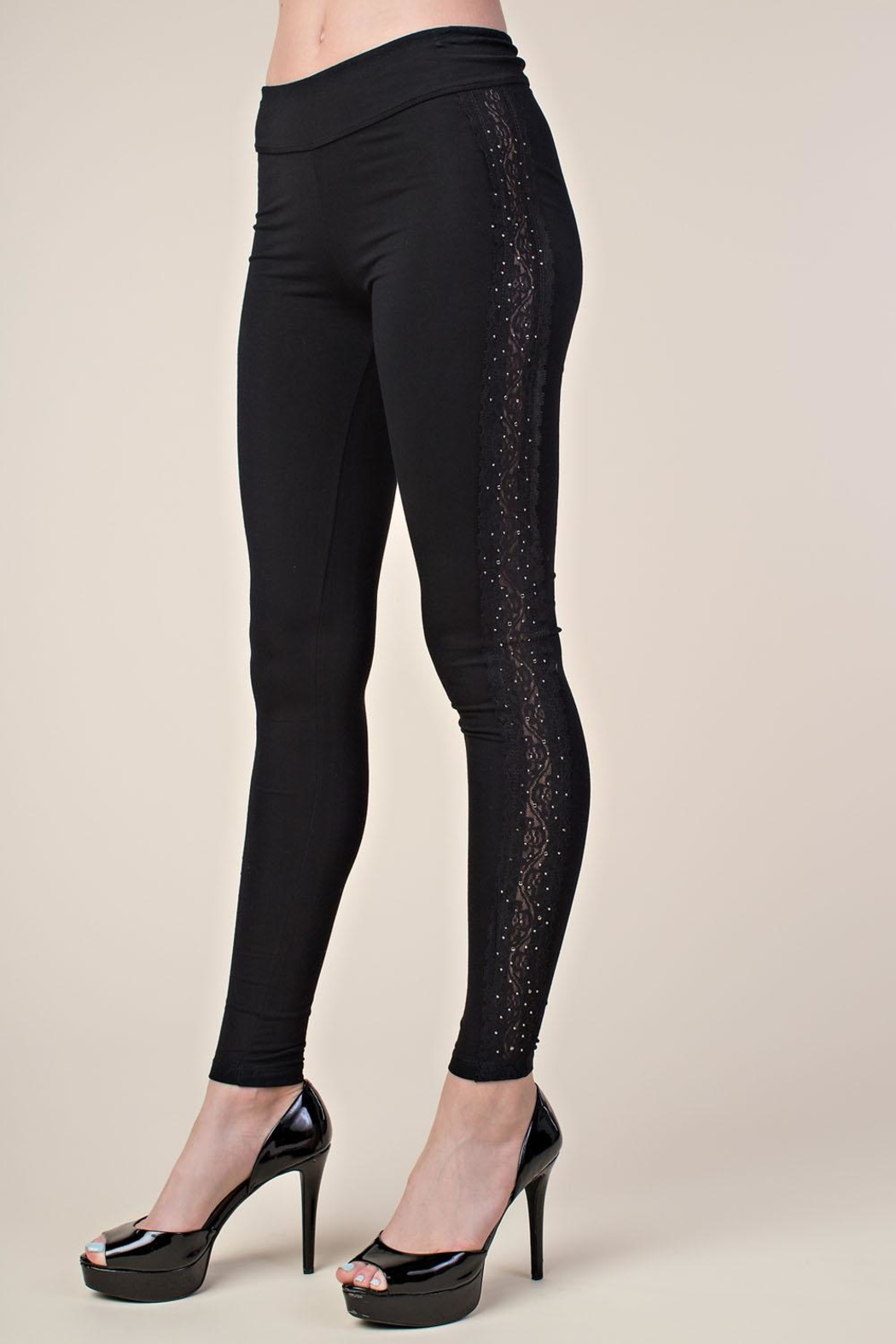 Vocal Apparel Leggings With Side Lace And Stones - Side Cropped Image