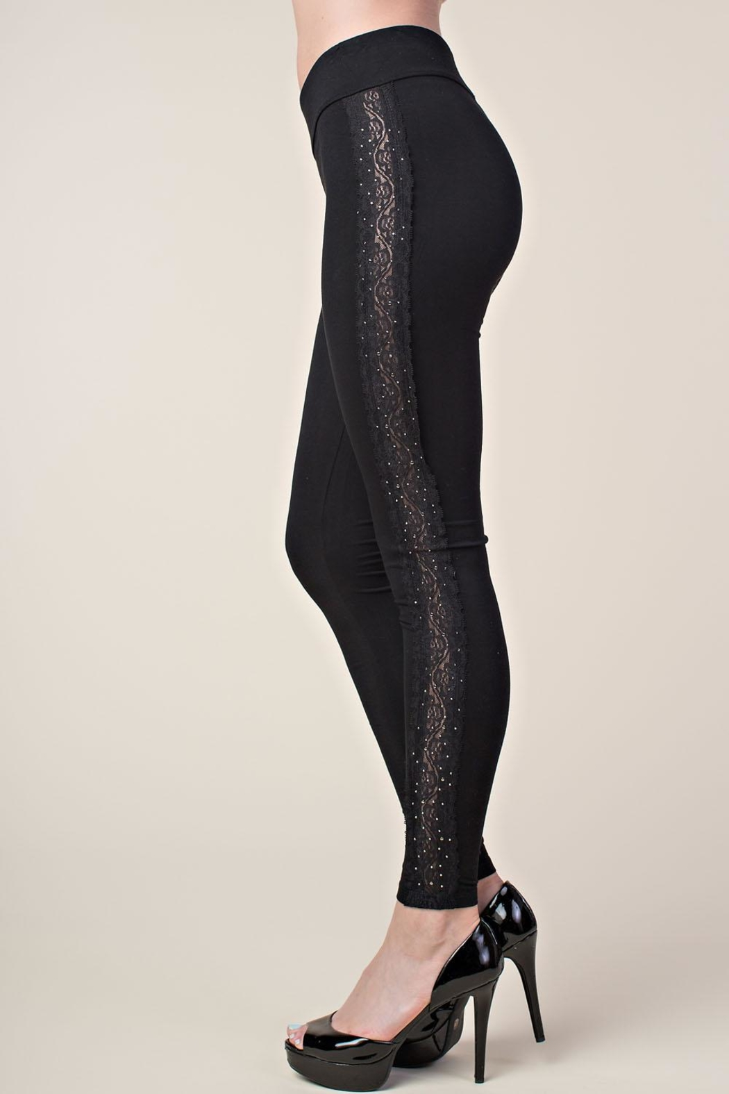 Vocal Apparel Leggings With Side Lace And Stones - Main Image