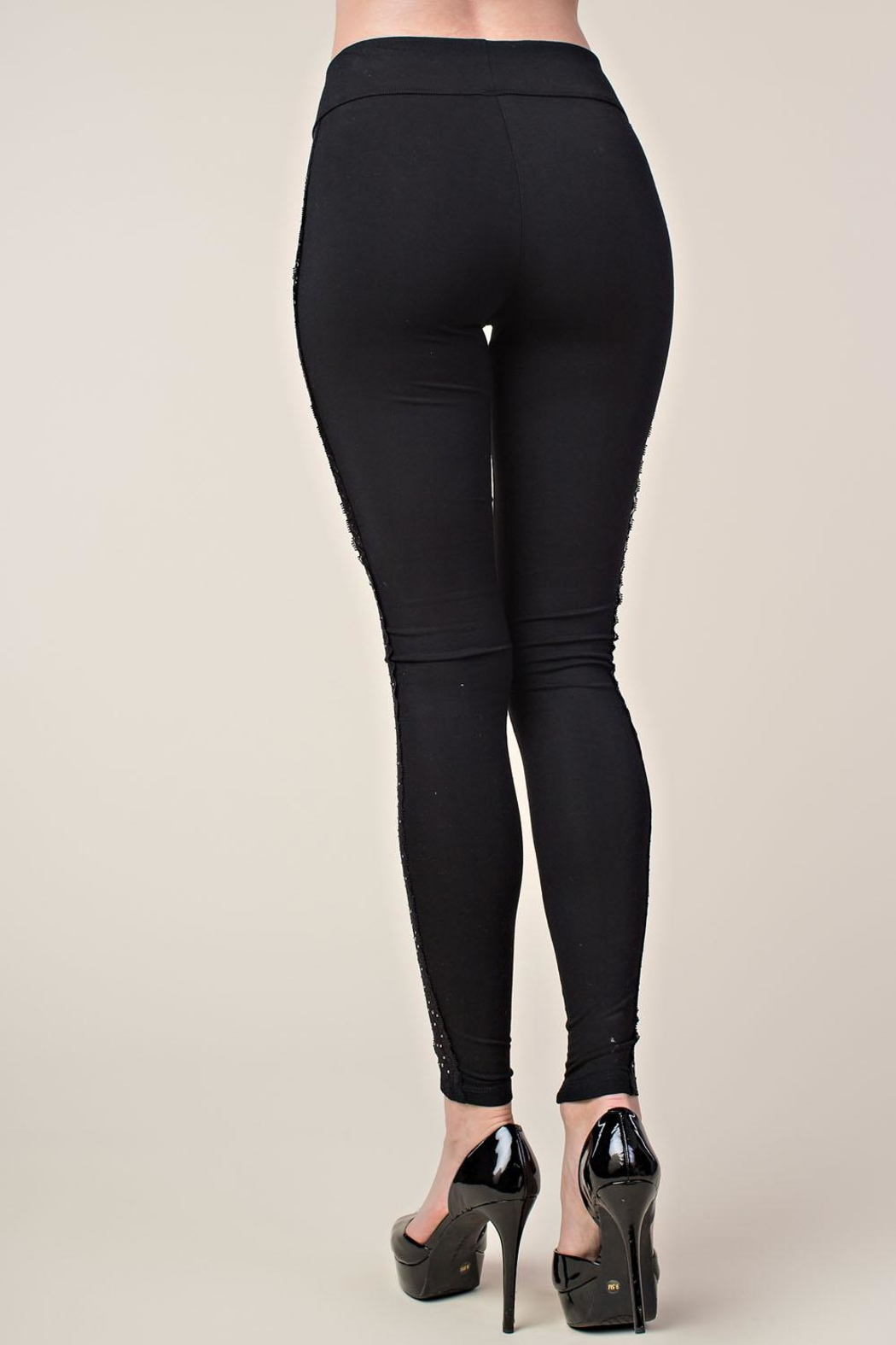 Vocal Apparel Leggings With Side Lace And Stones - Back Cropped Image