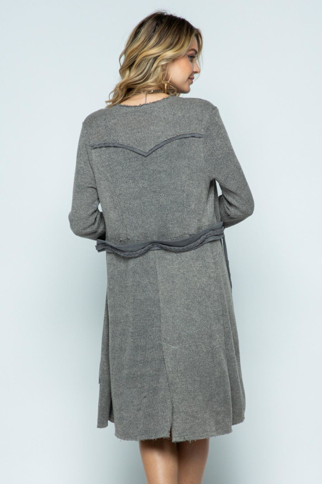 Vocal Apparel Long Jacket With Belt - Front Full Image