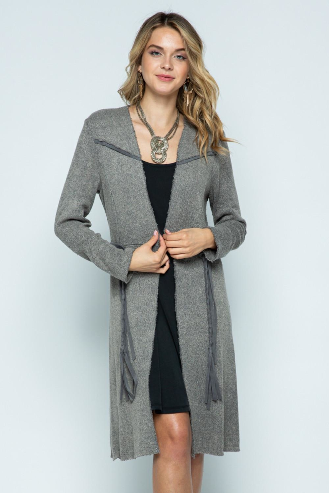 Vocal Apparel Long Jacket With Belt - Front Cropped Image