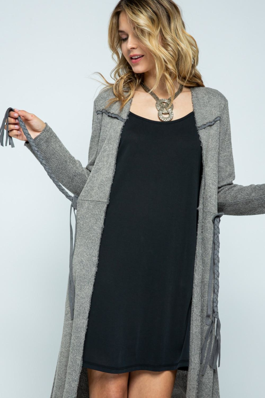 Vocal Apparel Long Jacket With Belt - Back Cropped Image