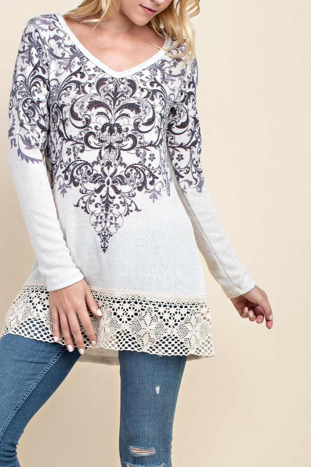 Vocal Apparel Motif Accent Sweater - Main Image