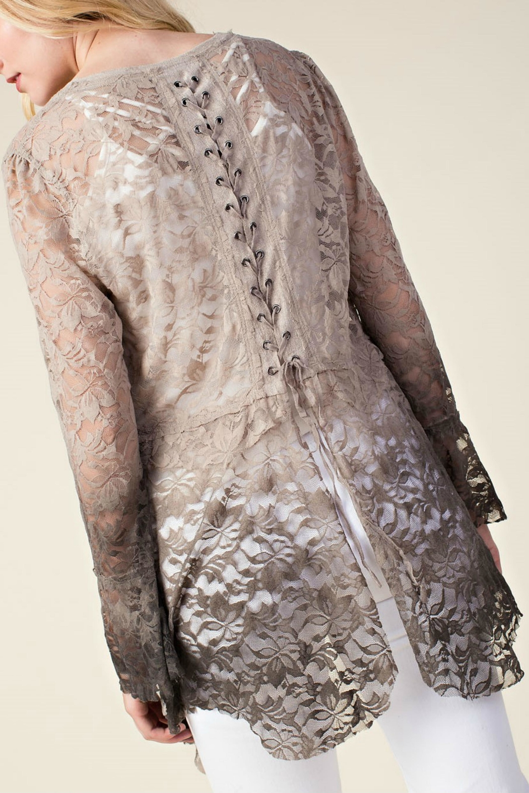 Vocal Apparel Ombre Lace Cardigan - Back Cropped Image