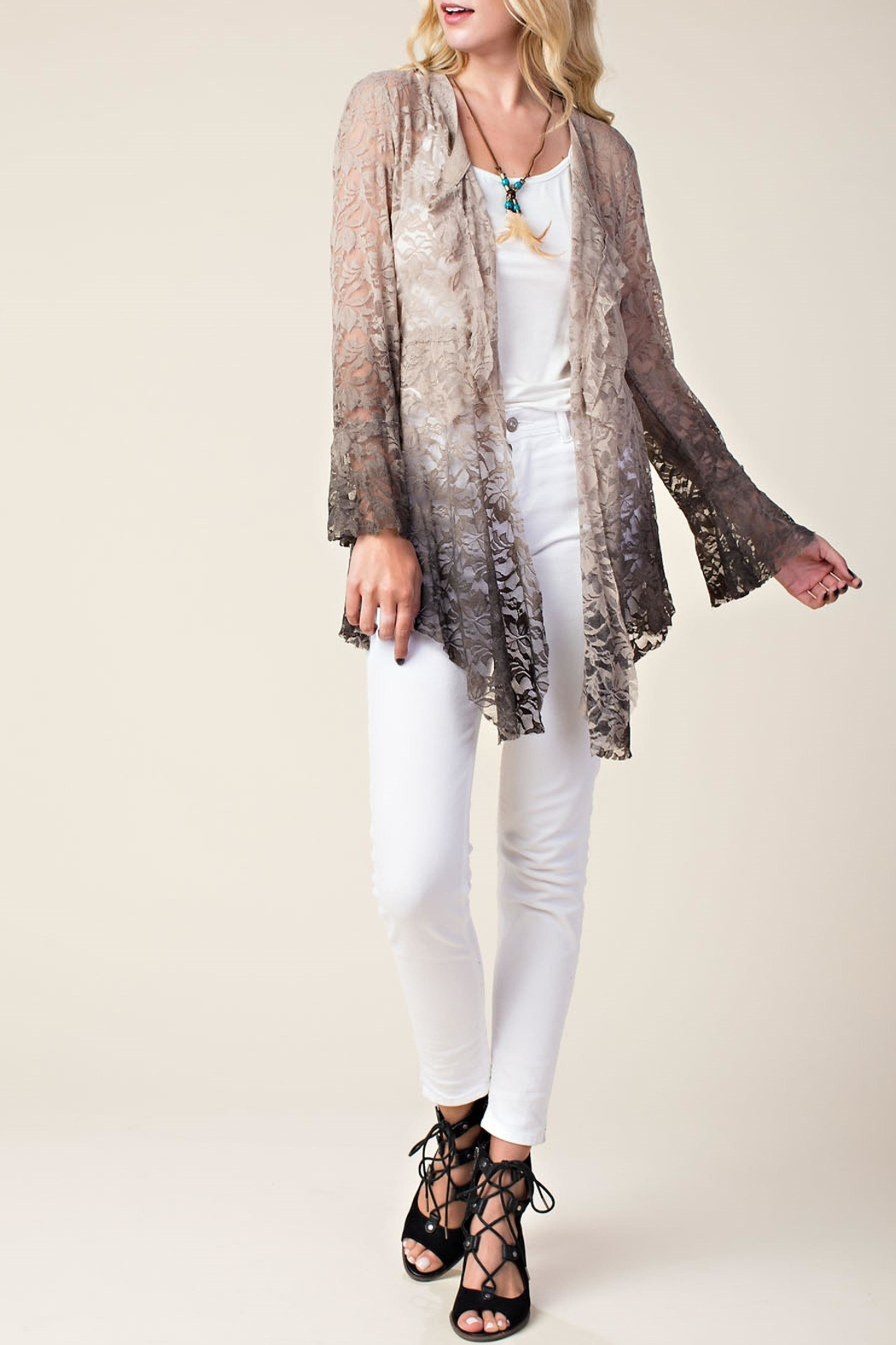 Vocal Apparel Ombre Lace Cardigan - Front Full Image