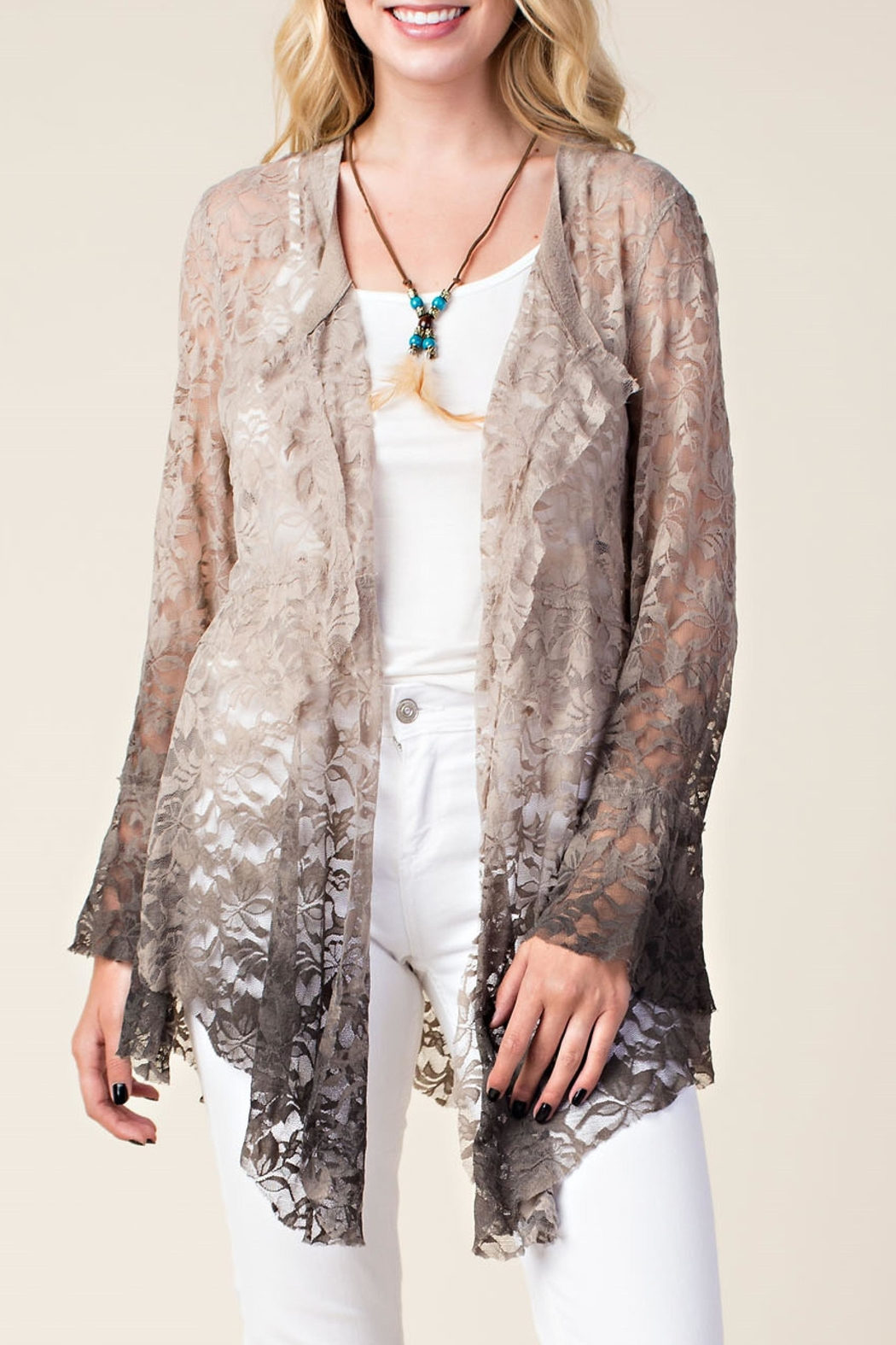 Vocal Apparel Ombre Lace Cardigan - Main Image