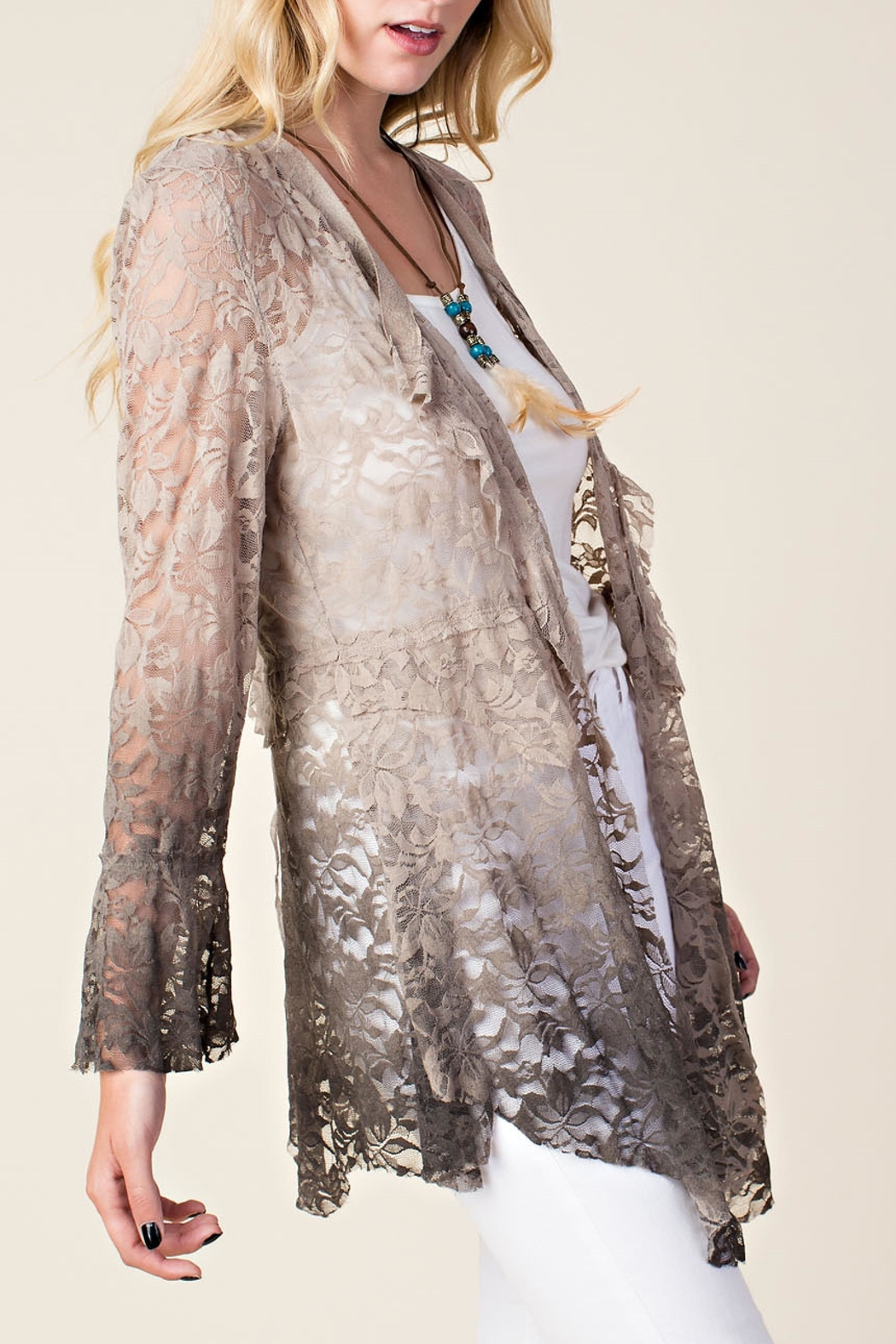 Vocal Apparel Ombre Lace Cardigan - Side Cropped Image
