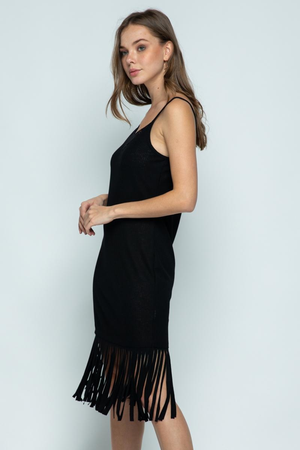 Vocal Apparel Sleeveless Dress With Fringes - Side Cropped Image