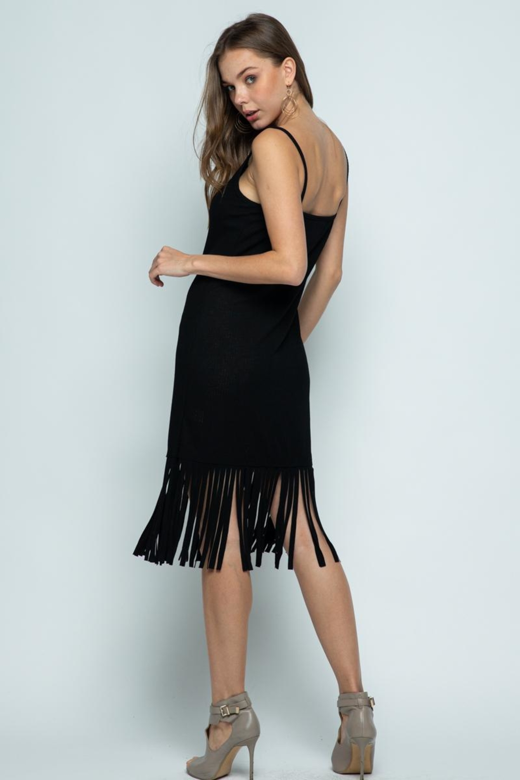 Vocal Apparel Sleeveless Dress With Fringes - Back Cropped Image