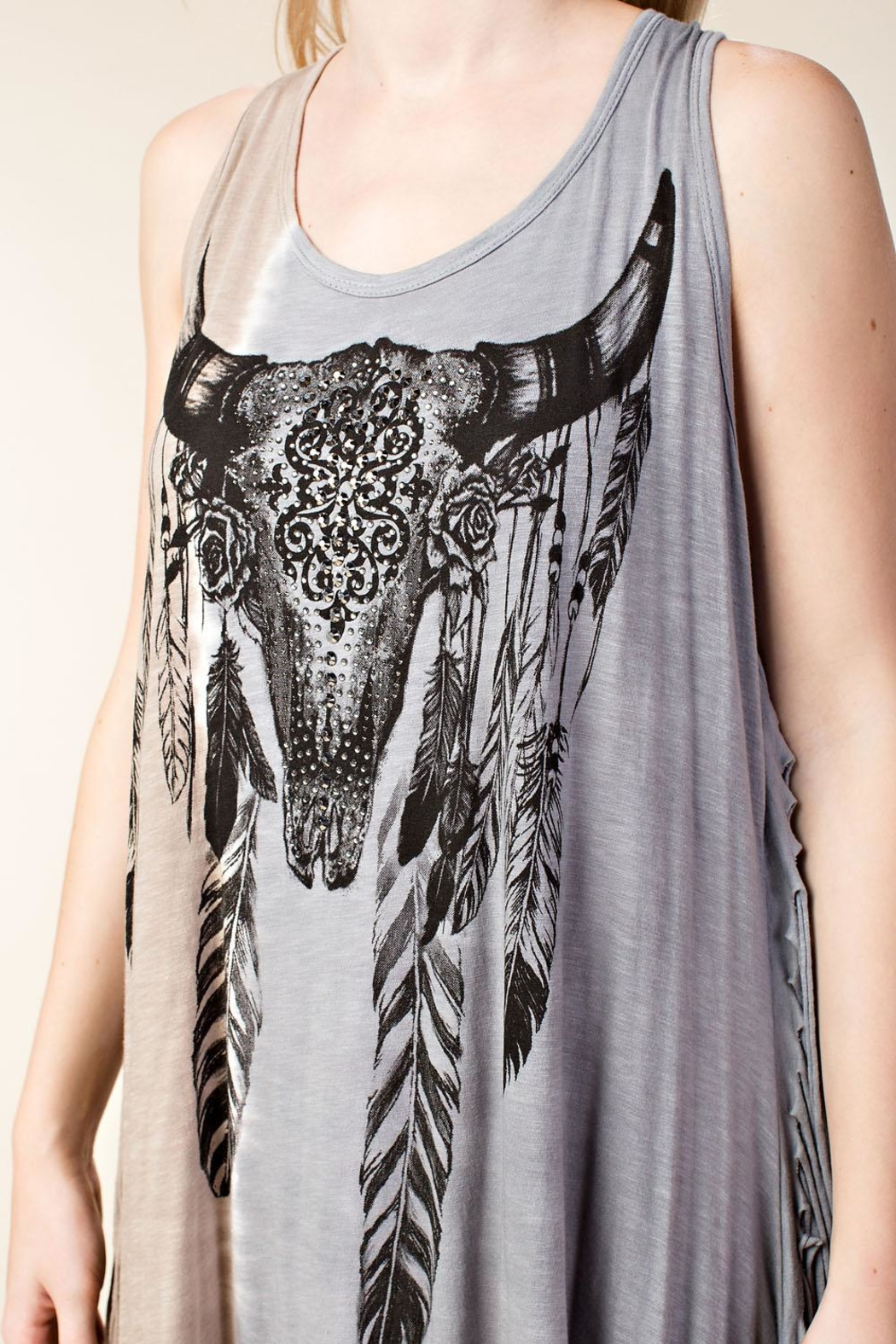 Vocal Apparel Sleeveless Tunic Skull Print And Stones - Back Cropped Image