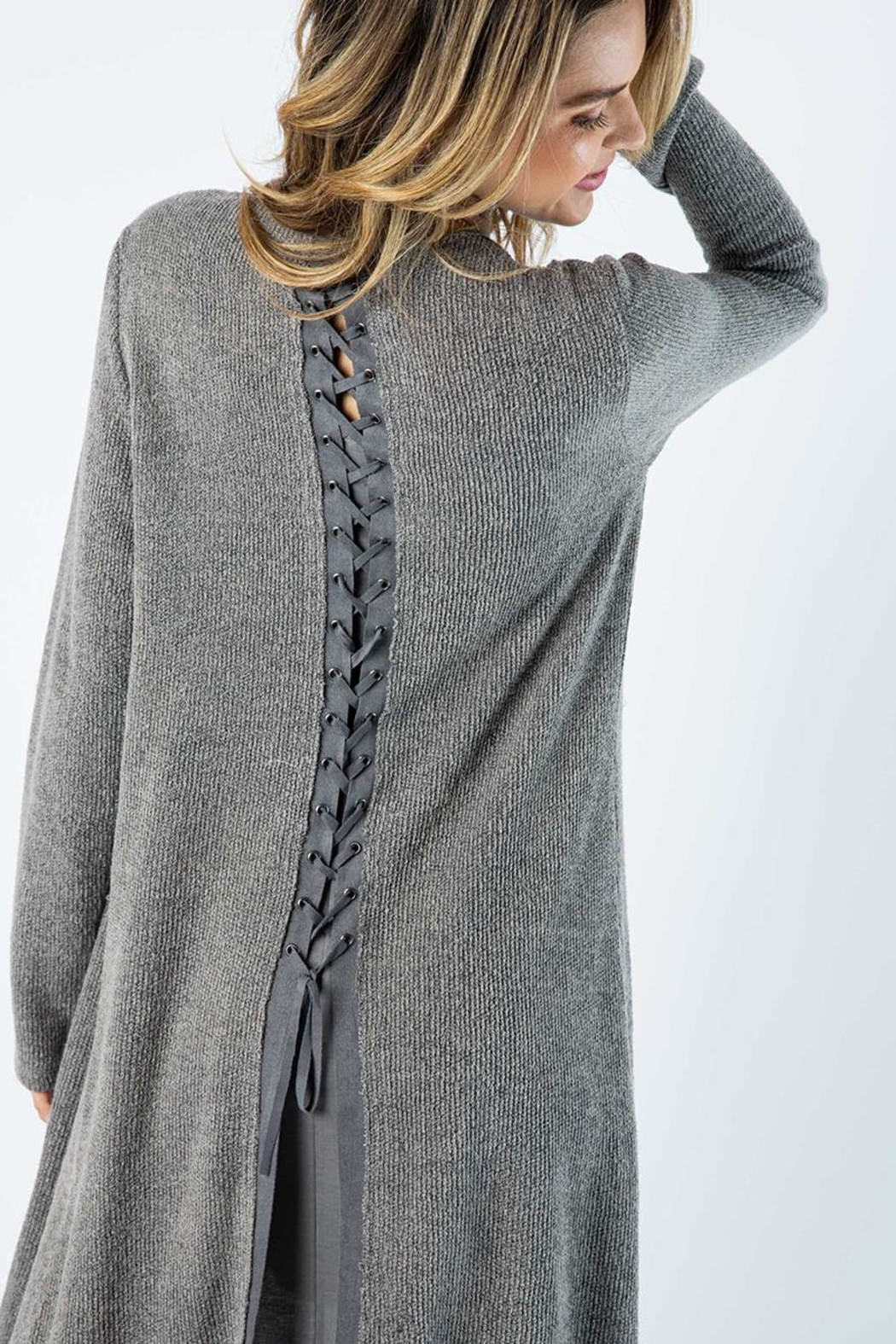 Vocal Apparel Solid Jacket With Laced Up Details - Side Cropped Image