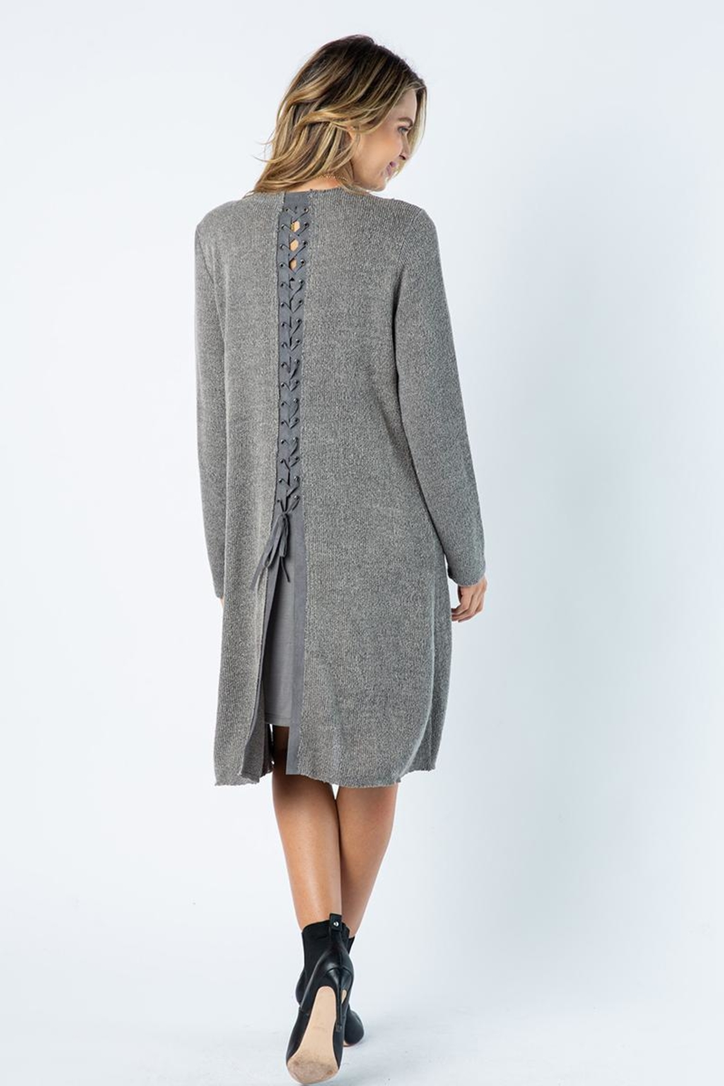 Vocal Apparel Solid Jacket With Laced Up Details - Front Full Image