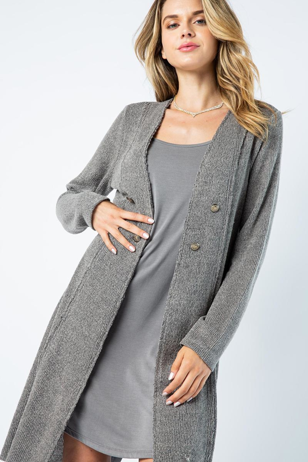 Vocal Apparel Solid Jacket With Laced Up Details - Back Cropped Image