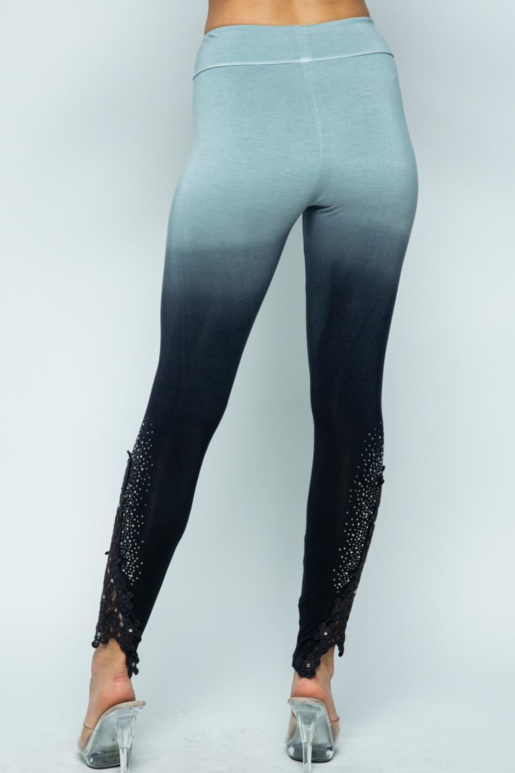 Vocal Apparel Special Dye Leggings With Stones - Front Full Image