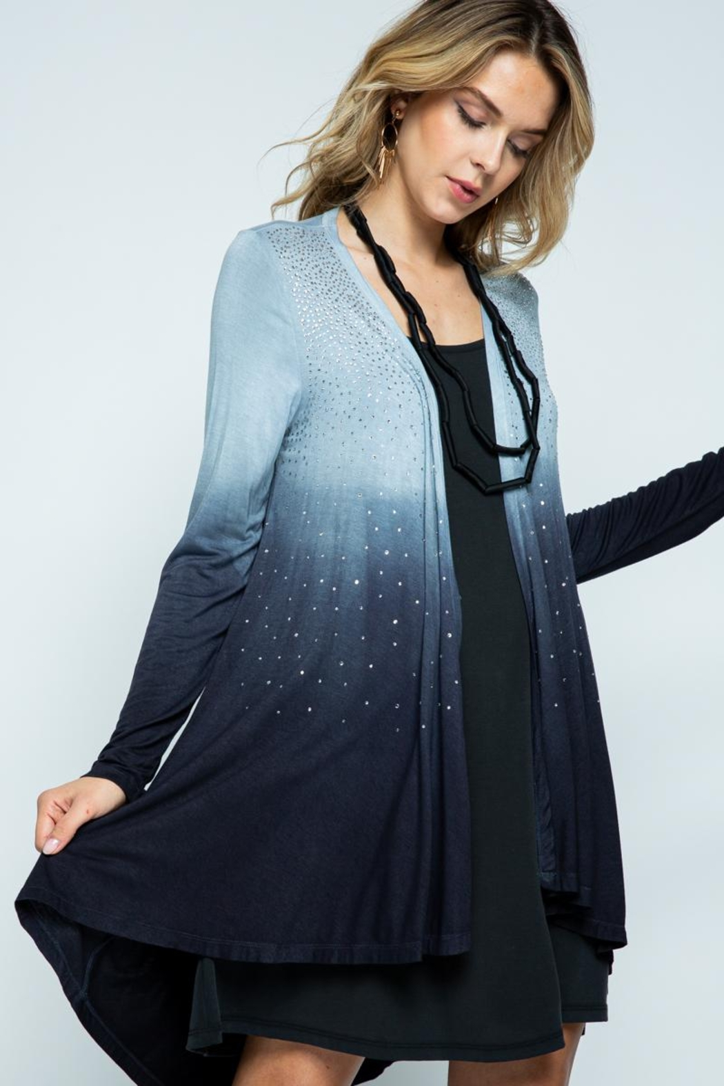 Vocal Apparel Special Dye Long Sleeve Cardigan With Stones - Front Full Image