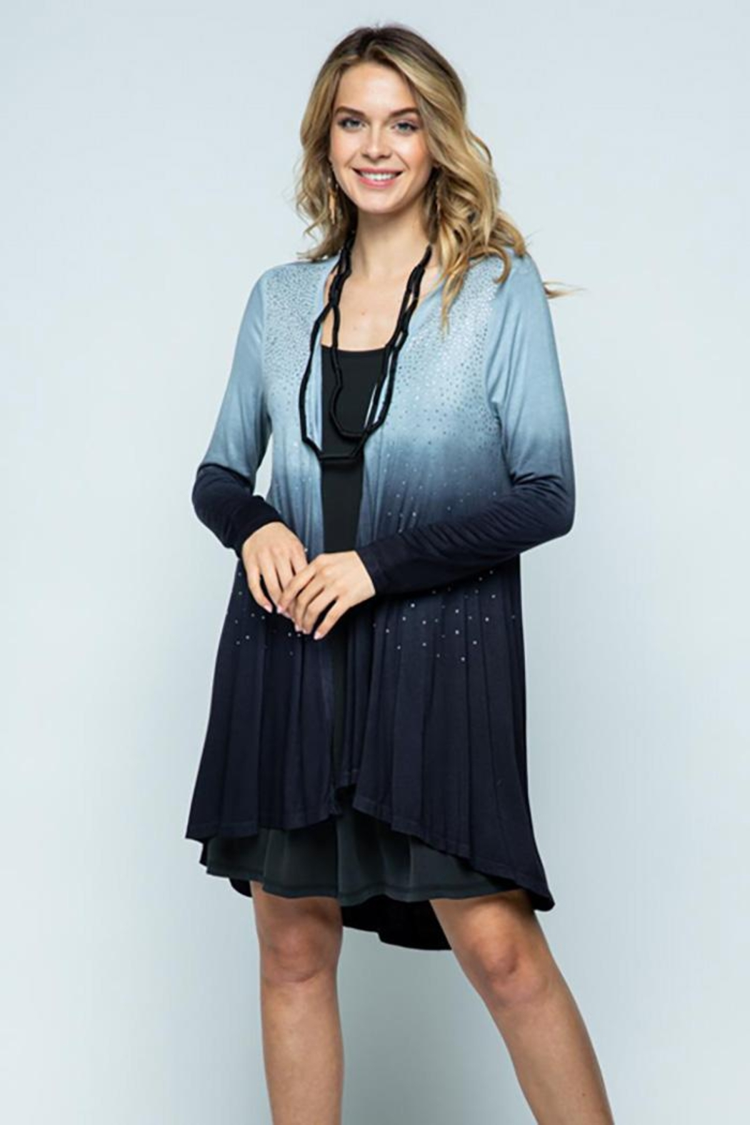 Vocal Apparel Special Dye Long Sleeve Cardigan With Stones - Main Image