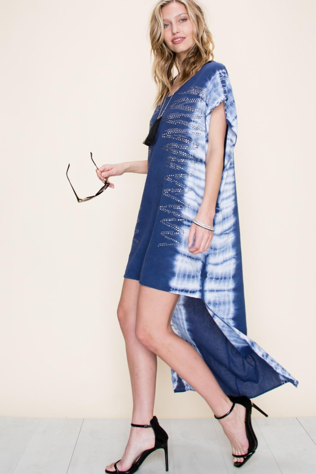 Vocal Apparel Special Dyed Hi-Low Dress With Stones - Front Full Image