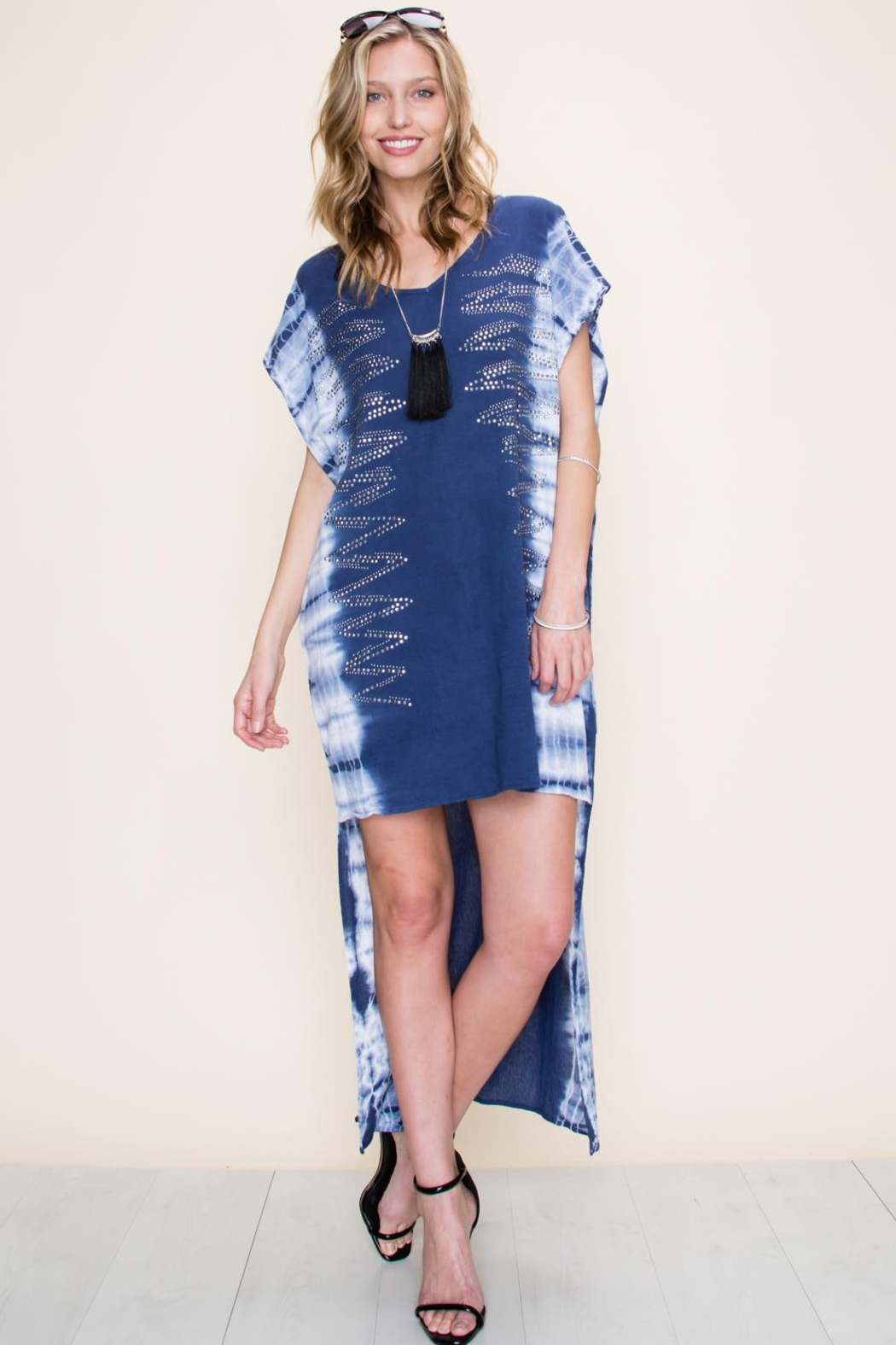 Vocal Apparel Special Dyed Hi-Low Dress With Stones - Main Image