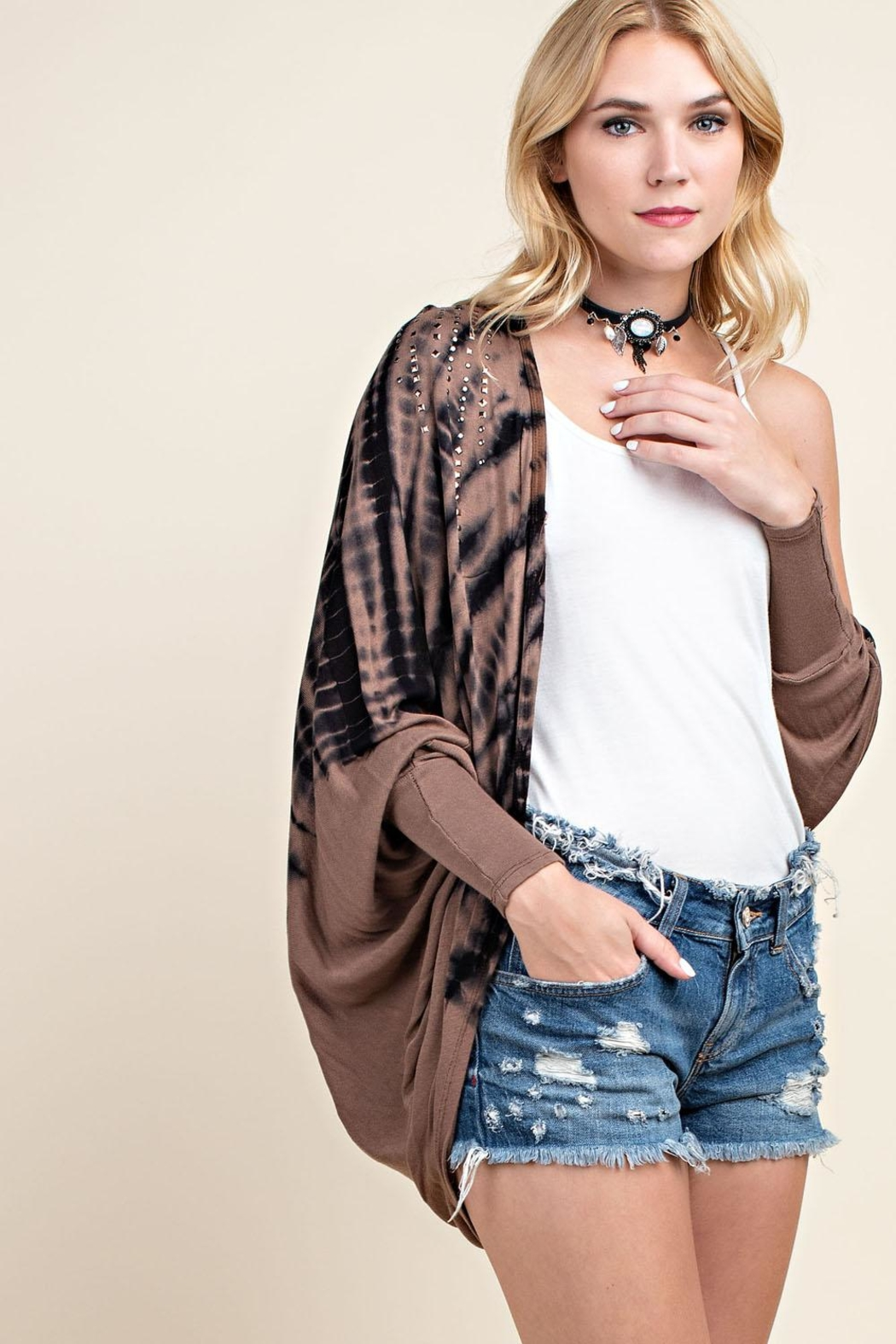 Vocal Apparel Stone Detailed Cardigan - Front Full Image
