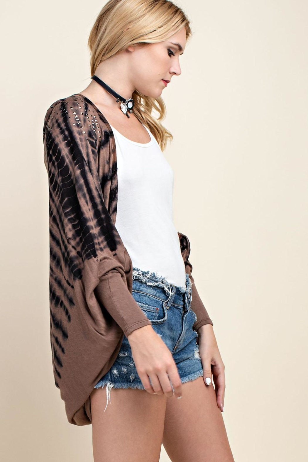 Vocal Apparel Stone Detailed Cardigan - Back Cropped Image