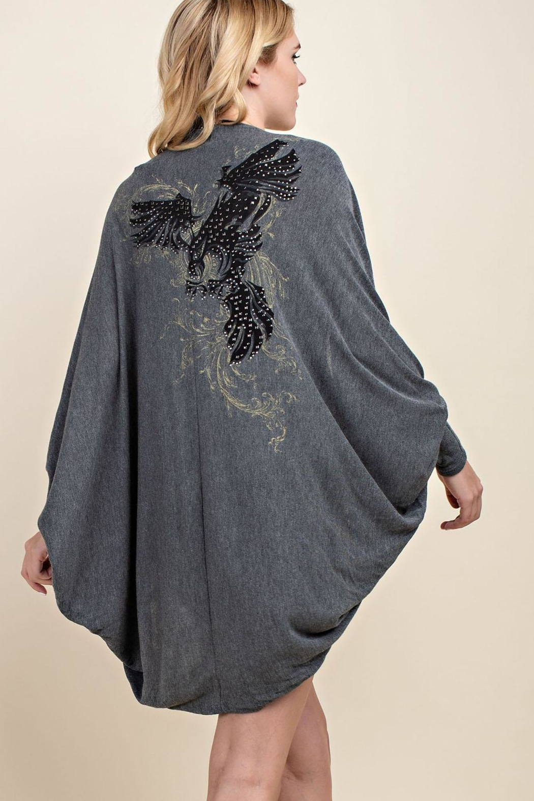 Vocal Apparel Stone Detailed Cocoon-Cardigan - Front Full Image